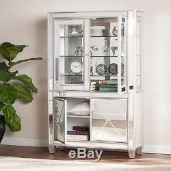 Mct26019 Silver Mirrored Lighted Curio Cabinet 4 Doors