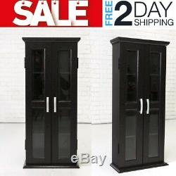 Media Cabinet With Glass Doors Cd DvD Multimedia Storage Tower Rack Wood Wooden
