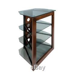 Media Component TV Stand Audio Stereo Cabinet Storage Shelves Glass Door NEW