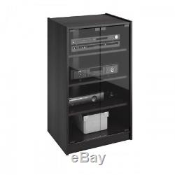 Media Component TV Stand Black Audio Stereo Cabinet Storage Shelves Glass Doors