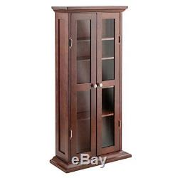 Media Storage Cabinet With Doors Wood Glass CD DVD Display Curio Adjustable