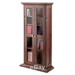 Media Storage Cabinet With Doors Wood Glass CD DVD Display Curio Adjustable  sc 1 st  Glass Cabinet Door & Media Storage Cabinet With Doors Wood Glass CD DVD Display Curio ...