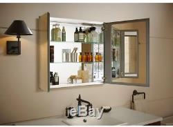Medicine Cabinet Bathroom Mirror Two Door Recessed Surface Mount Glass Shelves