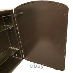 Medicine Cabinet Mirror Metal Construction Two Glass Shelves Painted Brown