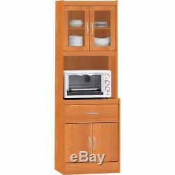 Microwave Stand China Cabinet Cart Wood Glass Doors Shelves Storage Kitchen New