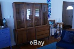 Mid Century China Cabinet Vintage Wood Hutch with Glass Doors Display Shelves