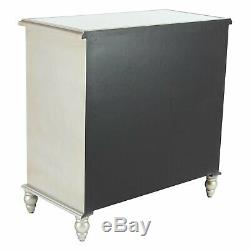 Mirrored Glass Console 2 Door Chest Storage Mirror Accent Cabinet Stand Scrolled