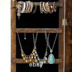 Mirrored Wall&Door Mounted Jewelry Cabinet Organizer Storage withLED Light Antique
