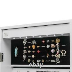 Mirrored Wall & Door Mounted Jewelry Cabinet Organizer Storage withLED Light White