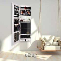 Mirrored Wall Mounted Jewelry Cabinet Storage Organizer Armoire Door Hanging WT
