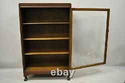 Mission Arts & Crafts Oak Wood Single Glass Door Small Bookcase Display Cabinet