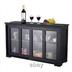 Modern Black Dining Room Buffet Sideboard Server Cabinet with Glass Doors Decor