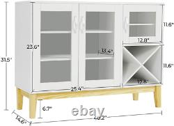 Modern Buffet Cabinet Sideboard Glass Doors with Wine Racks and Storage Shelves US