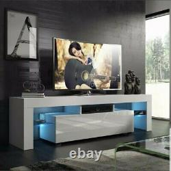 Modern White 51 TV Stand Unit Cabinet with LED Light Single Door Console Table RC