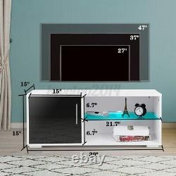 Modern White/Black TV Stand Cabinet Consloe with LED Lights Entertainment Center