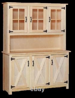 NEW AMISH Unfinished Solid Pine Barn Door Hutch Glass Modern Farmhouse