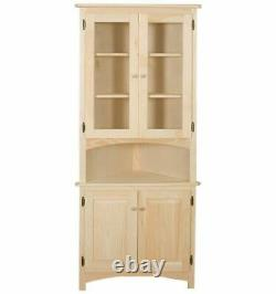 NEW AMISH Unfinished Solid Pine CORNER HUTCH China Cabinet Rustic Wood Handmade
