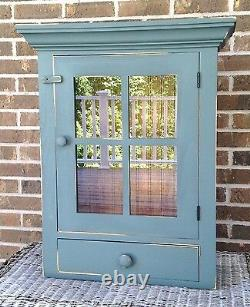 NEW! Handcrafted Primitive Colonial Farmhouse Cupboard Cabinet WithGlass Door