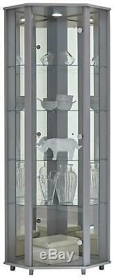 NEW Home Glass Corner Modern Cabinet Display Unit Storage Shelves With Doors