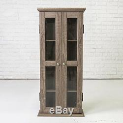 NEW Wood Glass Display Cabinet Modern Curio Case Cabinet Small Trophy With Doors