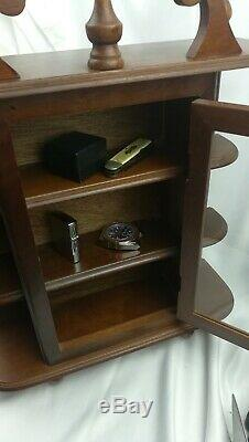 NICE! Antique Curio Cabinet Wall Hang OR sit on Mantle/ Glass door 3 shelf dark