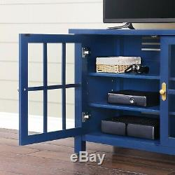 Navy Blue Wood 2 Tempered Glass Doors Console Sideboard Buffet Table TV Cabinet