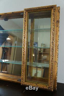 Neiman Marcus Horchow 3 Door Wall Hanging Curio Cabinet Glass Front Gold Italian