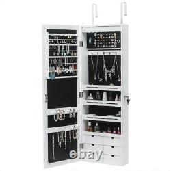 New Wall/ Door Mounted Jewelry Cabinet Armoire Jewelry Box Organizer with Drawer