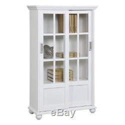 New White Sliding Glass Door Pantry Cabinet Storage Cupboard Bookcase Curio