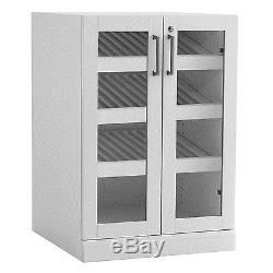 Newage Products Home Bar Glass Door Base Cabinet White New
