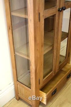 OAK DISPLAY CABINET WITH GLASS DOORS AND SIDES, 80cm, 32cm, 180cm