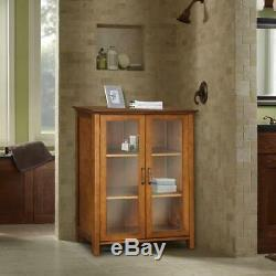 Oak Finish Floor Cabinet With Glass Doors Curio Display Storage Dining Area NEW