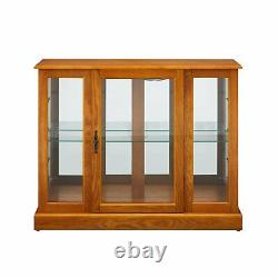 Oak Finish Lighted Display Curio Cabinet Glass Door Home Living Furniture