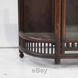 Oak Victorian Stick and Ball Hanging Curio Cabinet. Glass only in 2 front doors