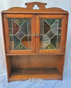 Oak Wall Hanging or Table Top Smokers Tobacco Pipe Cabinet Cupboard Leaded Glass