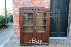 Oak Wood Antique Leaded Glass 2 Door Bookcase / Display Cabinet with 4 Shelves