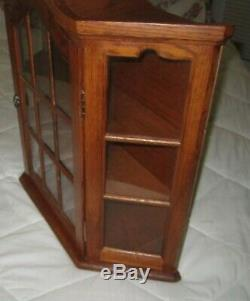 Oak Wood Wall Mounted Arched Curio Display Cabinet with9-Pane Door & Glass Sides
