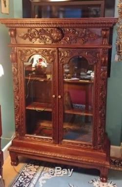 Ornate Carved Wood Curio Cabinet with Glass Doors 2 Wooden Shelves