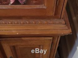 Ornate Golden Oak China Cabinet Leaded With'Leaded'Glass Doors