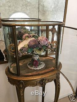 Oval Shaped French Gold Gilt Vitrine Glass Doors Curio Cabinet Display Stand