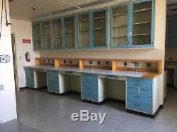 Overhead Lab Cabinets, Blue, with Glass Sliding Doors 47x47x12