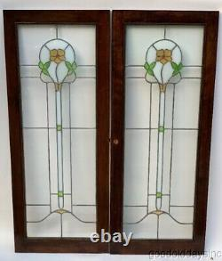 Pair Antique 1920's Chicago Stained Leaded Glass Windows / Cabinet Doors 45 18