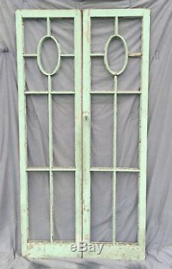 Pair Antique French Window Door Shabby Cottage Chic Cabinet Bookcase 1404-16