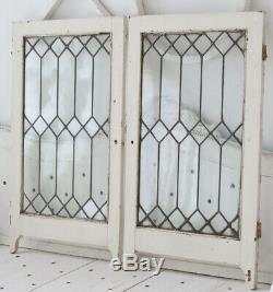 Pair Antique Leaded Glass Ornate Wood Cabinet Pantry Doors Windows Cottage Chic