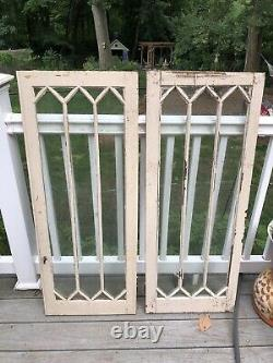 Pair Antique Mission Diamond Cut Glass Window / Cabinet Doors With Brass Latch