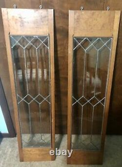 Pair Antique Oak Stained leaded glass cabinet doors 12x48