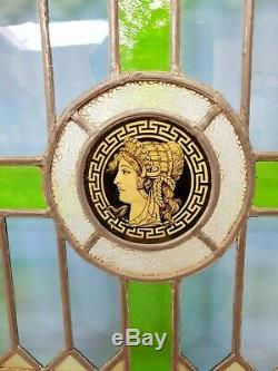 Pair Antique Stained Glass Panels Reclaimed Cabinet Doors E/0341