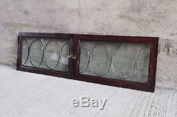 Pair of Antique Wood Framed Cabinet Doors with Leaded Glass Window withOval Design