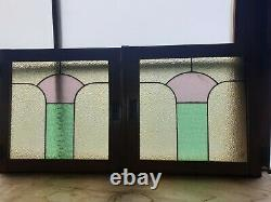 Pair of Art Deco Reclaimed Cabinet Doors Stained Glass Panels