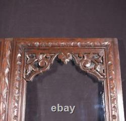 Pair of French Antique Oak Wood & Glass Panels/Cabinet Doors Highly Carved